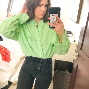 Vintage Chaps Button Down Shirt Top Blouse Work x